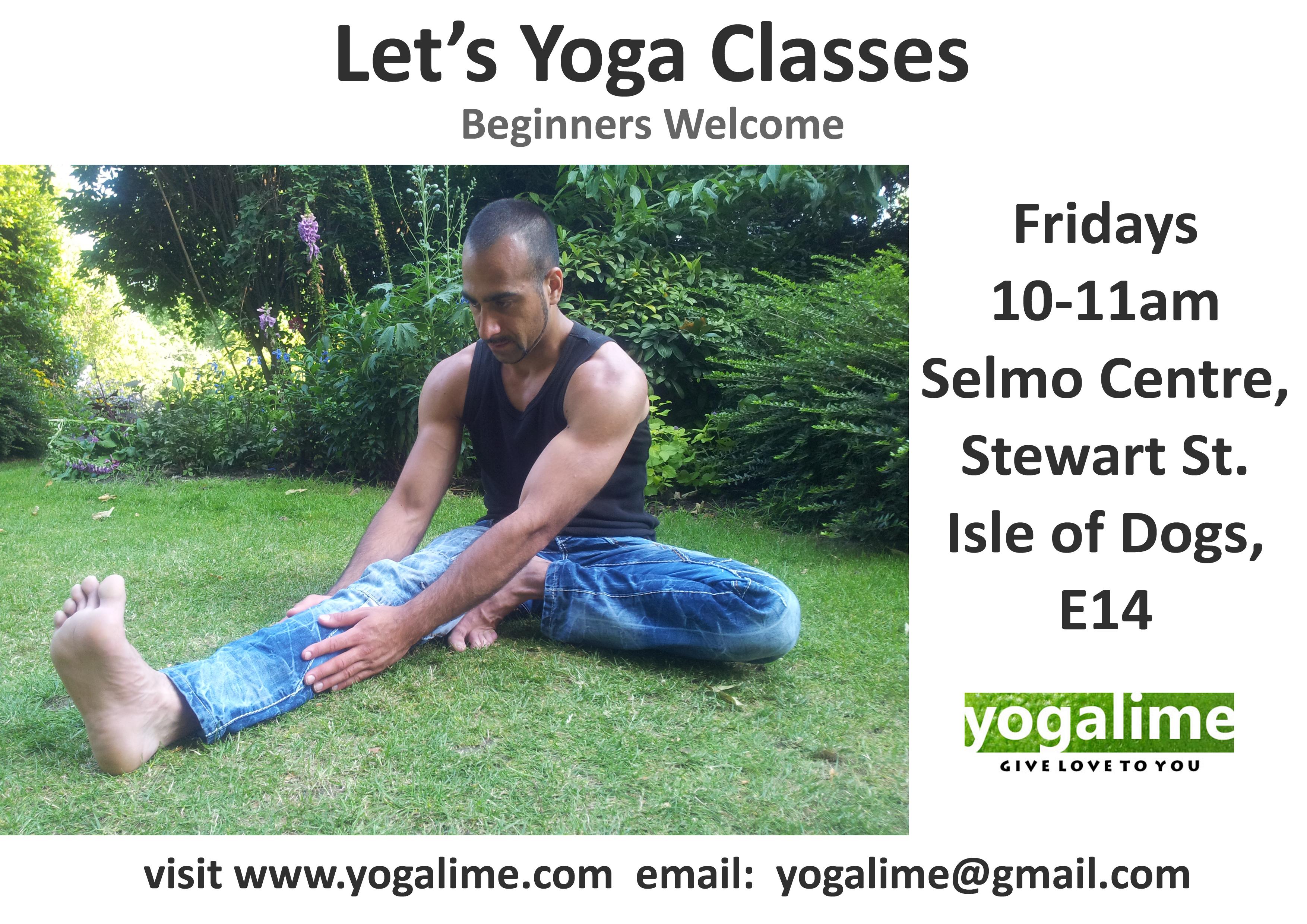 yoga class in E14, Selmo Centre, Isle of Dogs, yogalime