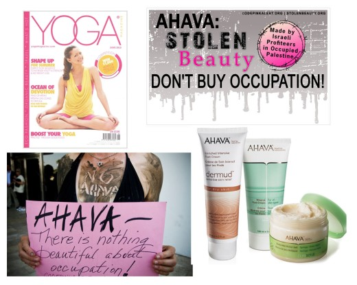 yoga magazine, ahava, bds, boycott, codepink, stolen beauty
