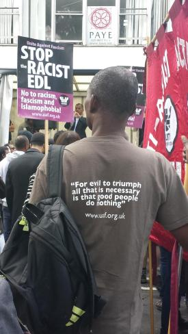 EDL, UAF, counter protest, demonstration, east london, mosque, malcolm x quote