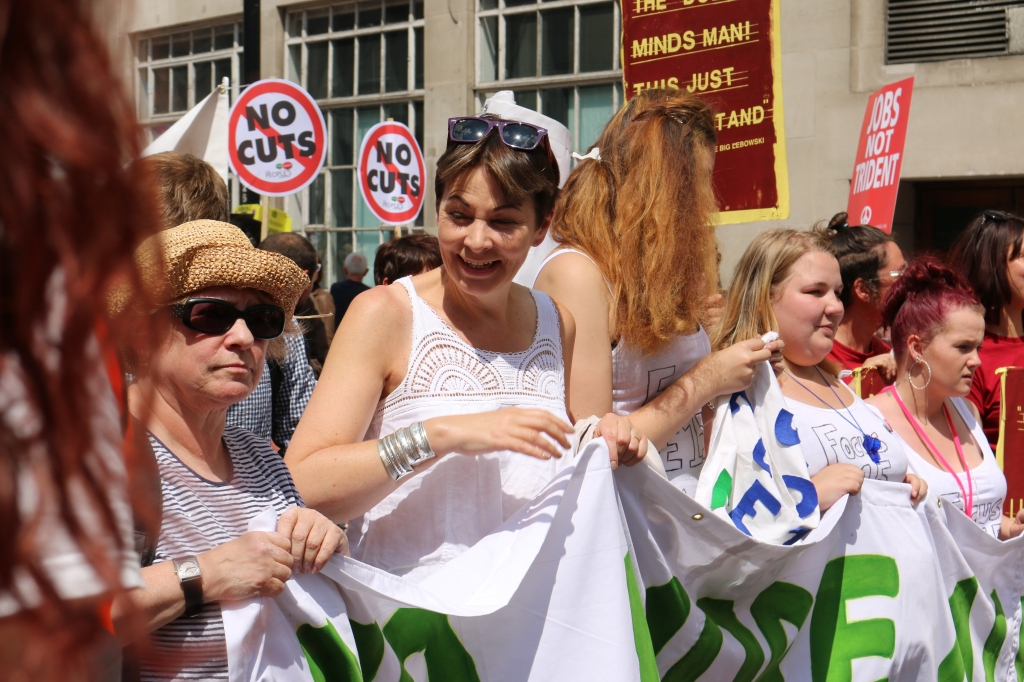 "Caroline Lucus, MP for Brighton Pavilion features in ""We Want a Proper Share"""