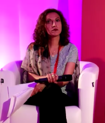 Jineth Bedoya Lima speaking at Coalico, Global Summit to End Sexual Violence in Conflict, 2014, yoga at yogalime
