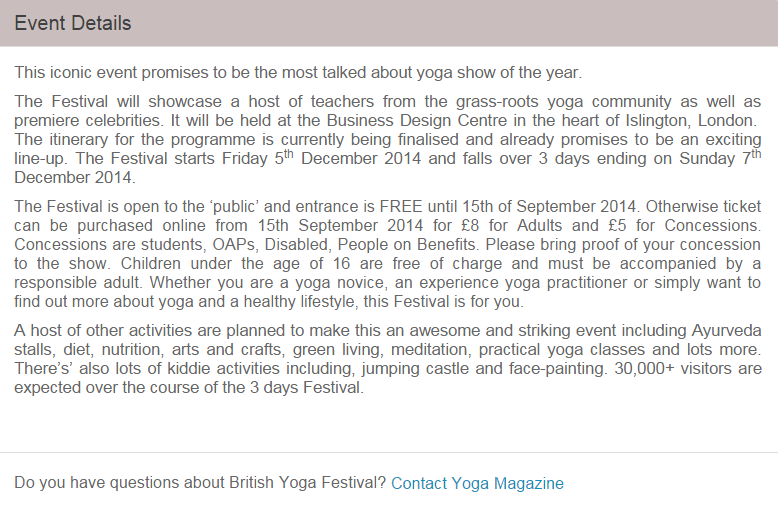 Screen shot from Yoga Magazines Eventbrite page on 28.09.14
