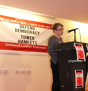 Kate Hudson, Left Unity at Defend Democracy in Tower Hamlets.